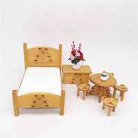 Wooden miniature doll furniture Toys Kids Simulation Furniture Toy Play House Dolls bed Baby Room Set
