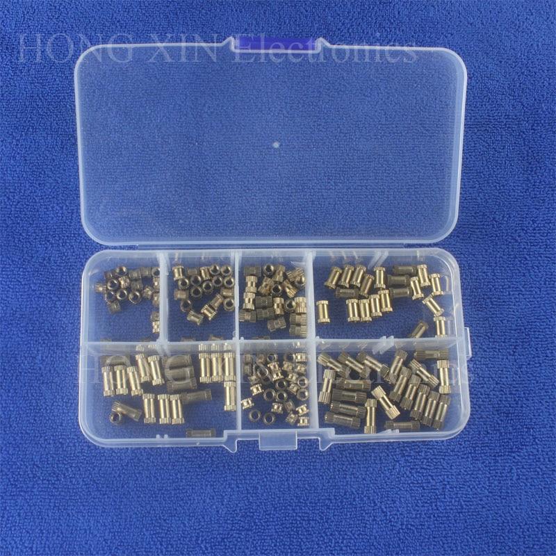 все цены на 150pcs/Box Brass Knurl Insert Nuts M3 Threaded Insert Screws Set Kit Industry Machinery Nut Injection Tool Plastic Box Wholesale онлайн