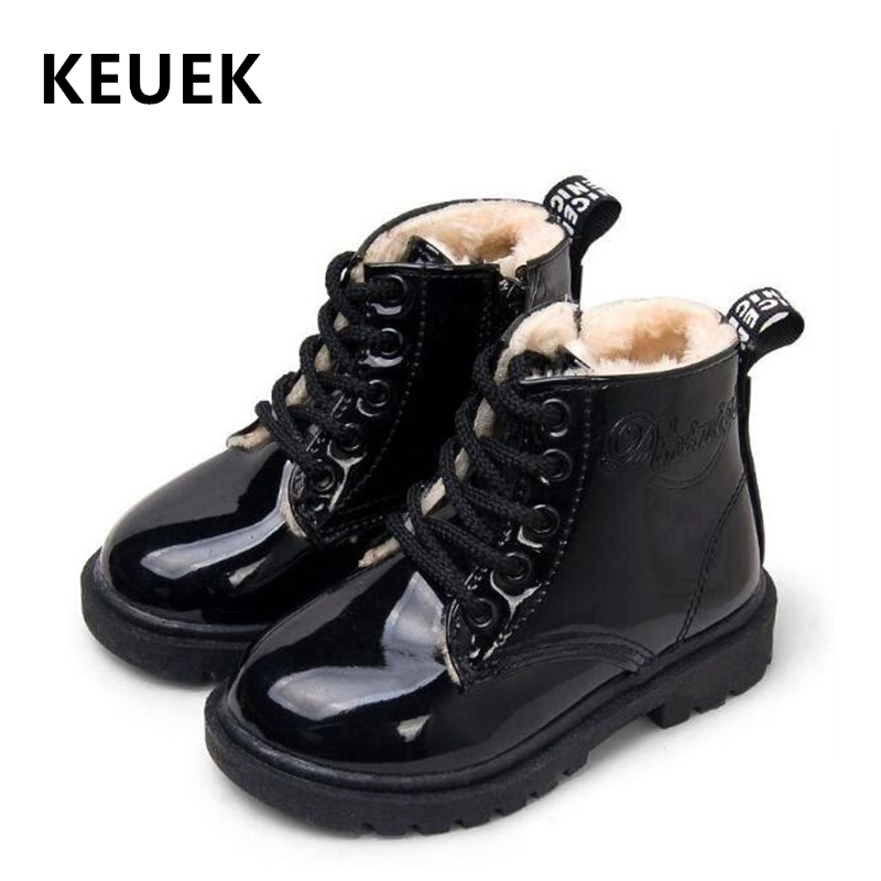 Children Motorcycle Boots PU Leather Waterproof Boots Winter Kids Snow Boots Brand Girls Boys Shoes Rubber Boots 03B