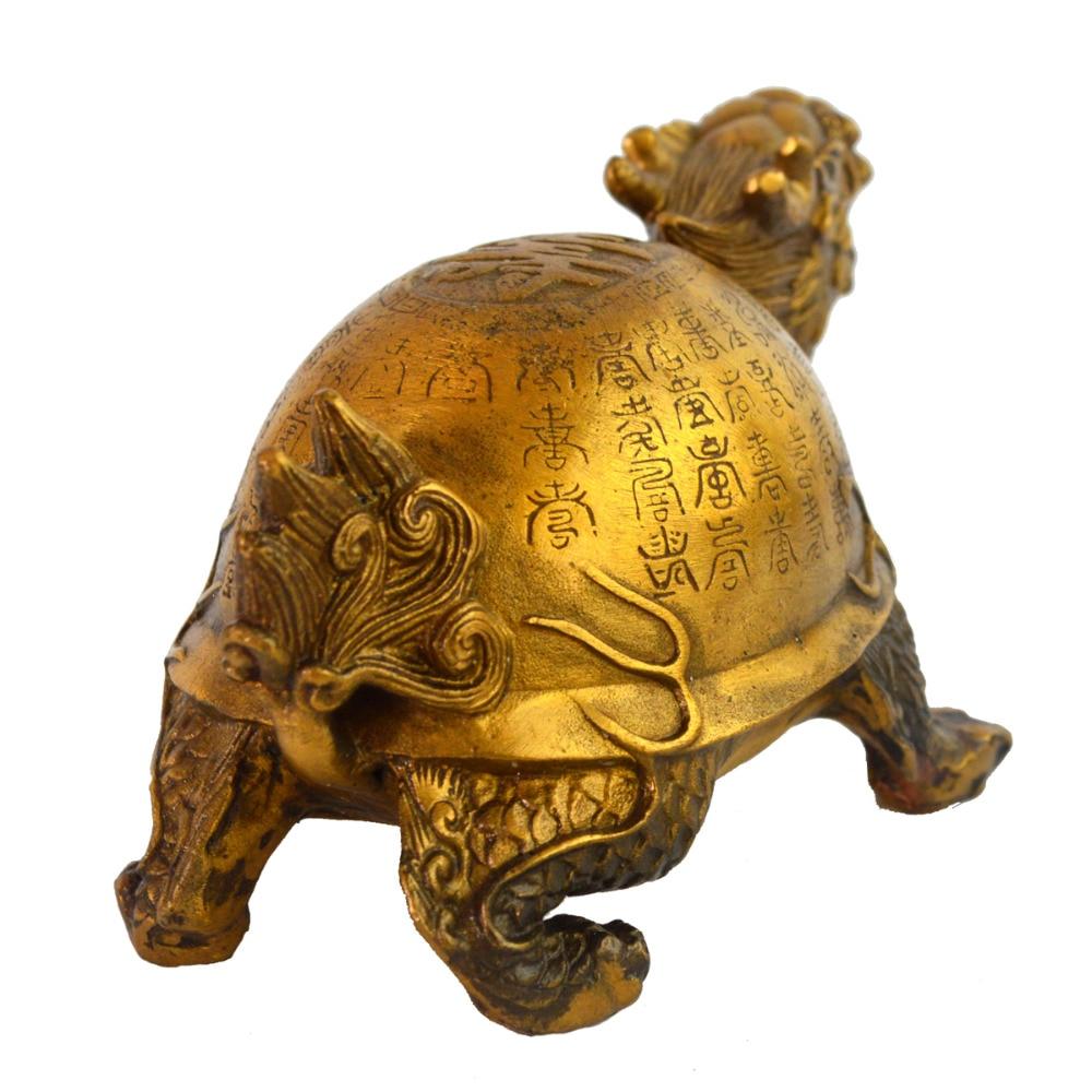Feng Shui laiton longévité Dragon tortue Statue Figurine W gratuit Mxsabrina rouge chaîne Bracelet M4015 - 5