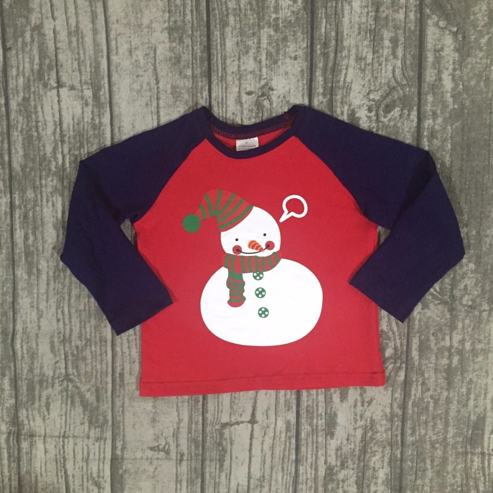 new children Christmas raglans baby boys Snowman raglans top ...