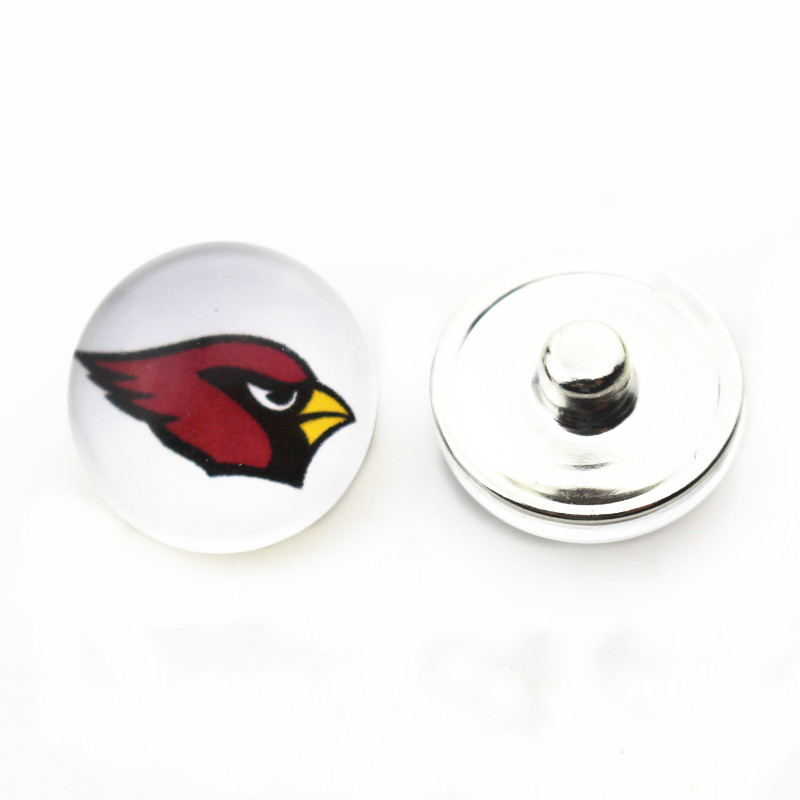 Hot selling 20pcs/lot Glass Arizona Cardinals Football Snap Buttons fit 18mm Snap Bracelets&Bangles DIY Snap Necklaces Jewelry