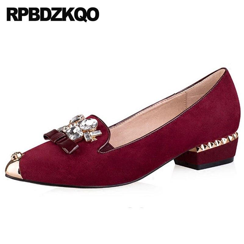 Rhinestone Bow Suede Genuine Leather Metal Ladies Women Luxury Dress Shoes Crystal Wine Red Pumps Low Heels Block Pointed Toe цена