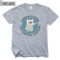 Adventure Time T-shirt Boys Men Clothing High Quality White Grey 100%Cotton Men Brand Clothing Shirts Cartoon Casual Slim Tees
