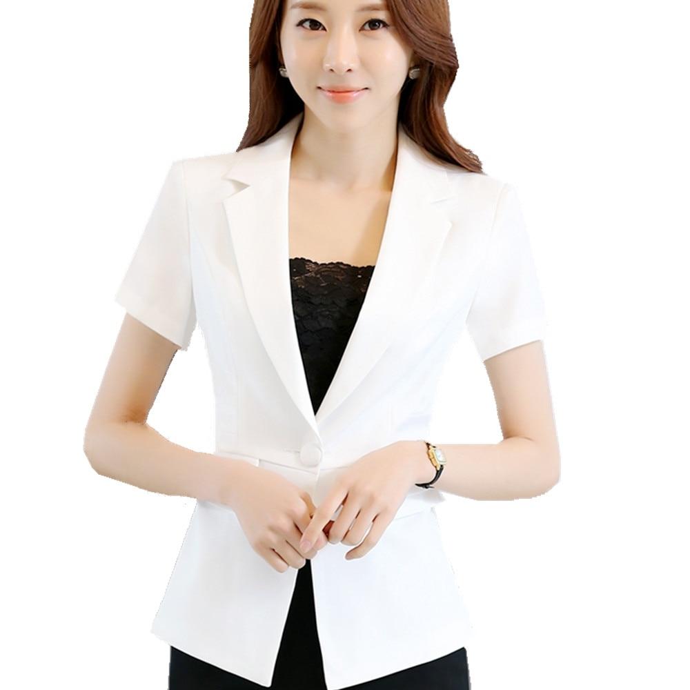 Fmasuth White Jacket Blazer Women Summer Short Sleeve One ...