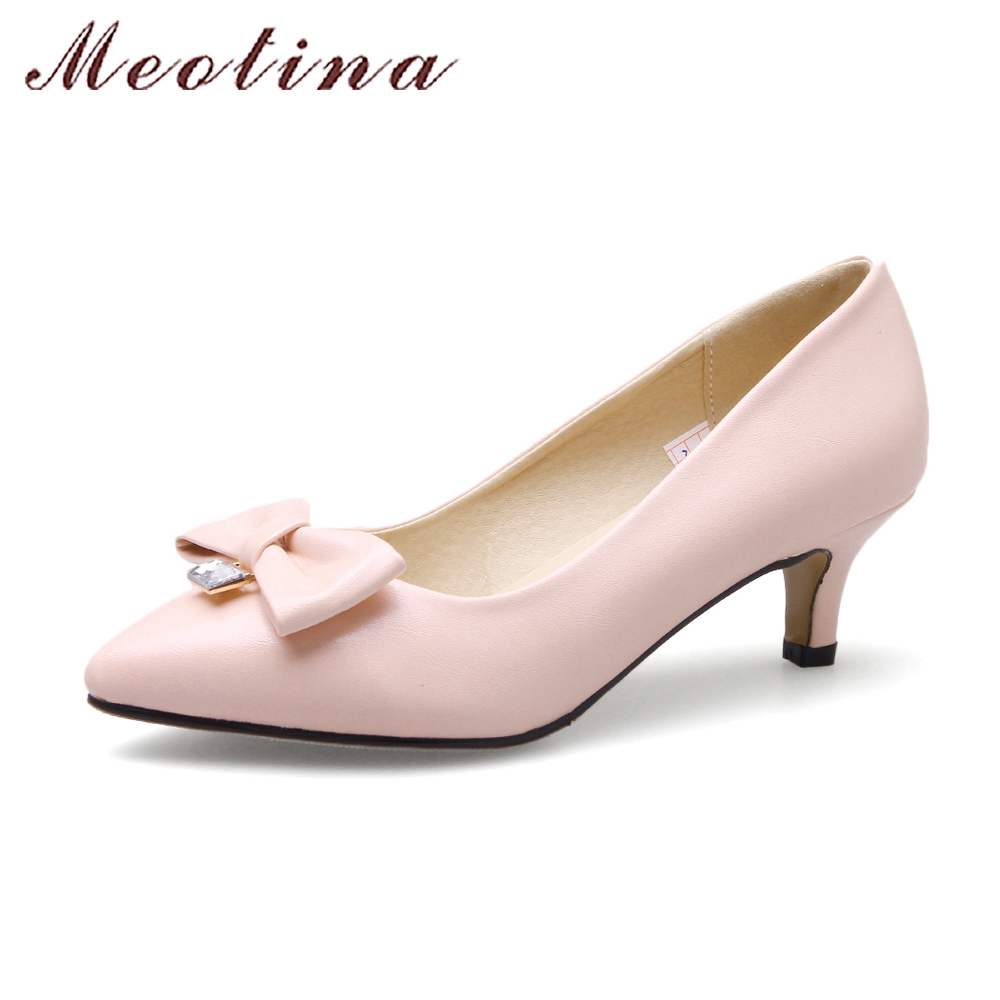 33d82a1018182 Meotina Women 2018 Shoes Pointed Toe Kitten Heels Shoes Pumps Med ...