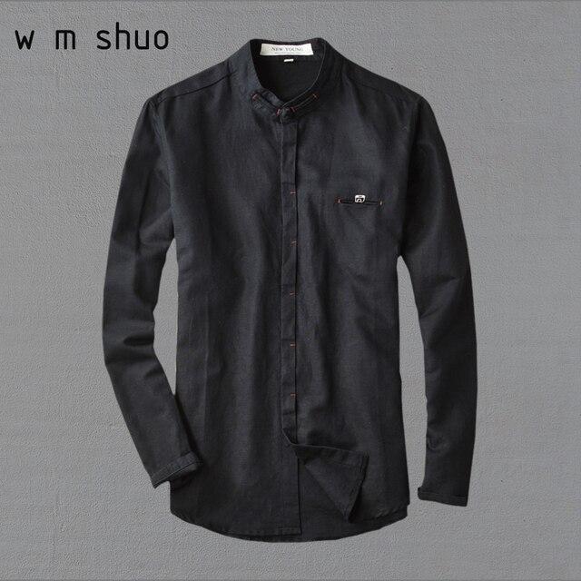 ddcb8f432 € 19.84  WMSHUO 2018 algodón camisas de lino hombre blanco negro Casual  Camisas manga larga mandarín Collar de moda hombres ropa tamaño asiático ...