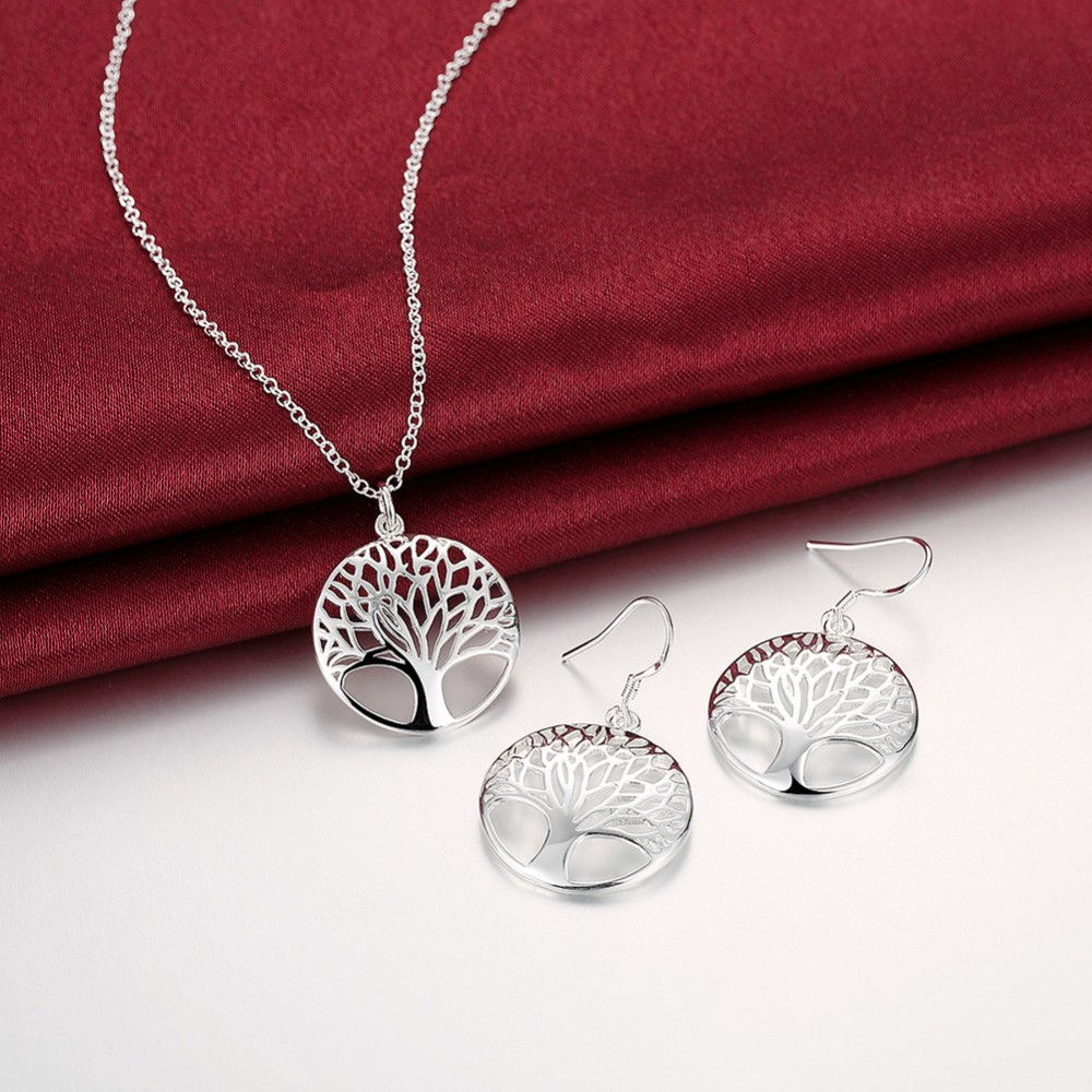 Wisdom Tree Necklace Earrings 925 Stamp Silver Plated Tree Of Life Pendant Necklace Earrings Christmas Gifts Jewelry Set