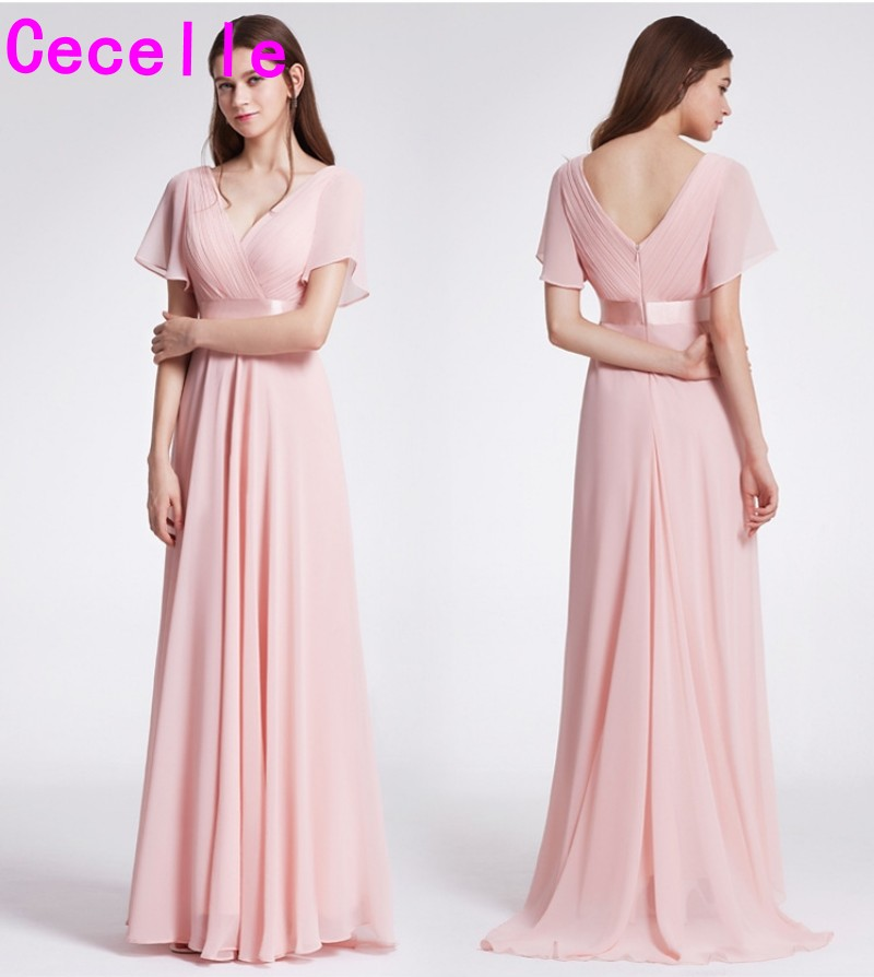 2019 Ruched Chiffon Light Pink A-lline Beach Boho Long Modest   Bridesmaid     Dresses   With Sleeves V Neck Long   Bridesmaid   Gown