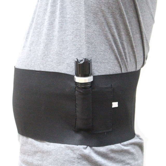 Elastic Belly Band Pistol Gun Holster Undercover Adjustable Waist Slimming Belt Abdominal Binder Pistol Holster with 2 Mag Pouch 2