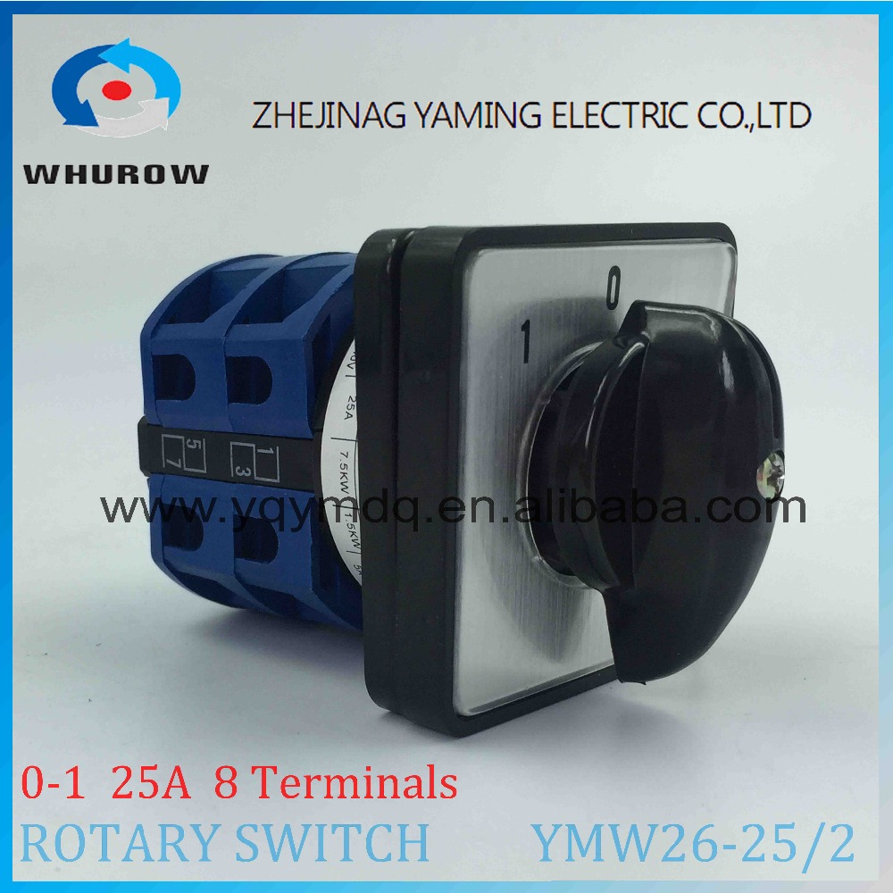 LW26 YMW26-25/2 Rotary switch 3 position knob High quality changeover cam switch 25A 2 phase 8 terminals silver contact ui 500v ith 16a 3 position changeover rotary cam switch w led indicator lamps