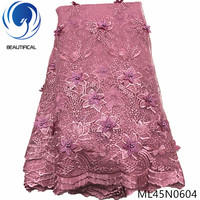 BEAUTIFICAL 3d flower tulle lace 5 yards french polyester lace sewing fabric african 3d lace ML45N06