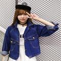 2016 Весной Новые Женщины Корейской Моды Случайные Куртка Джинсовая Рубашка Свободные Джинсовая Куртка