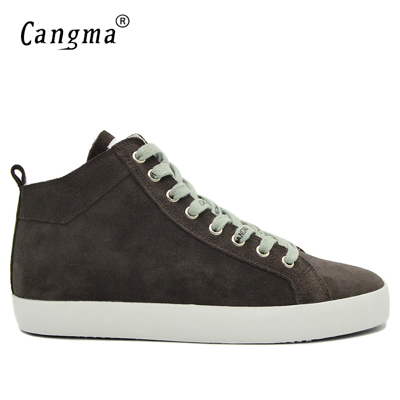 CANGMA Designer Classic Casual Shoes Mans Comfortable Gray Cow Suede Genuine Leather Sneakers Men Leisure Shoes Mid Sapatos 2017 cangma original casual shoes women sneakers lace up black cow suede footwear female genuine leather mid leisure shoes for woman
