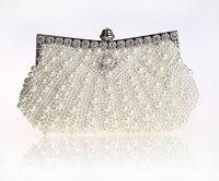 2016 High Quality Cream Evening Bag Women S Beaded Zircon Handbag Clutch Birthday Gift Party Purse