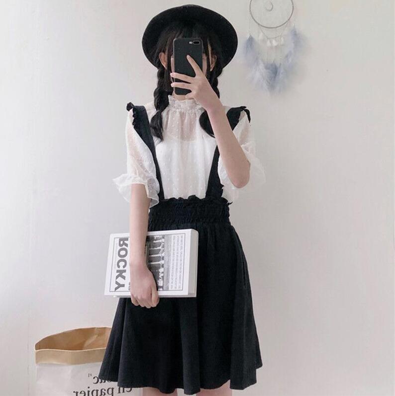 Ensembles lolita douce japonaise avec Camisole + haut lolita + robe lolita noire robe victorienne fille kawaii gothique lolita princesse loli