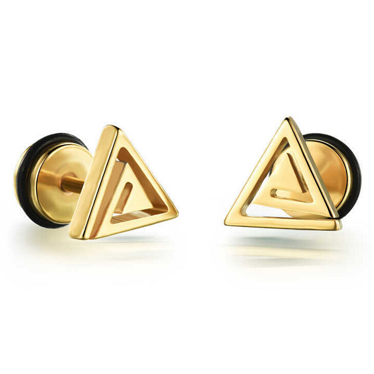 Casual Stainless Steel Triangle Design Stud Earrings Black White Gold Colors Man Jewelry Male In From Accessories On