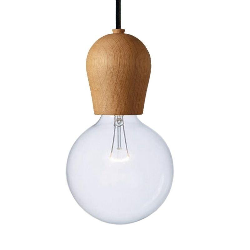 ФОТО Single Wooden Pendant Lights Light Bulb Wood Pendant Lamp For  Suspension Natural Lighting Fixtures Lustres PL191