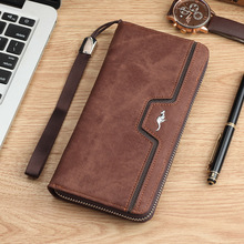 Brand kangaro Men Wallets vintage genuine canvas Men purse Coin Purse High Capacity Clutch wallet Male Wrist Strap phone Wallet