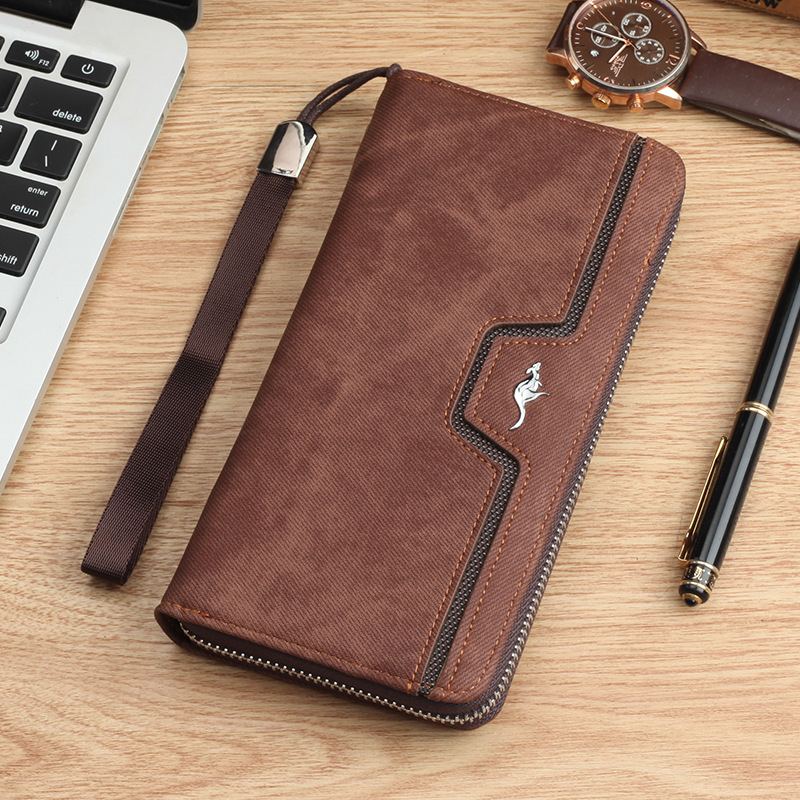 Brand kangaroo Men Wallets vintage genuine canvas Men purse Coin Purse High Capacity Clutch wallet Male Wrist Strap phone Wallet