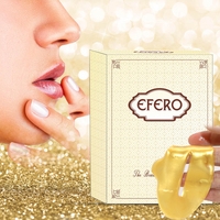 EFERO 15pack Moisturizing Lip Mask Collagen Golden Lip Patches with Collagen Lip Scrub Plumper Enhancer Pads Anti-Ageing Facial Care