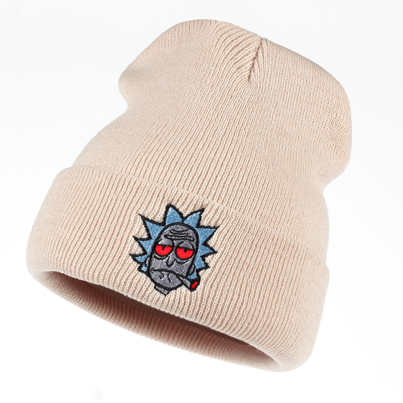Rick Hats Smoking Elastic Brand Embroidery Rick and Morty Beanie Cap Warm  Knitted Hat Winter Skullies Animation Ski Red Eyes-in Skullies   Beanies  from ... b5905c0bee0