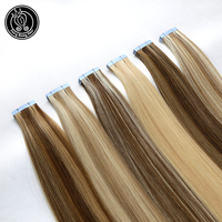 Tape In Hair Extensions Human Hair 100% Real Remy Human Hair Extension Balayage Platinum Blonde Color 2.0g/Piece 16 Inc 40g/pack