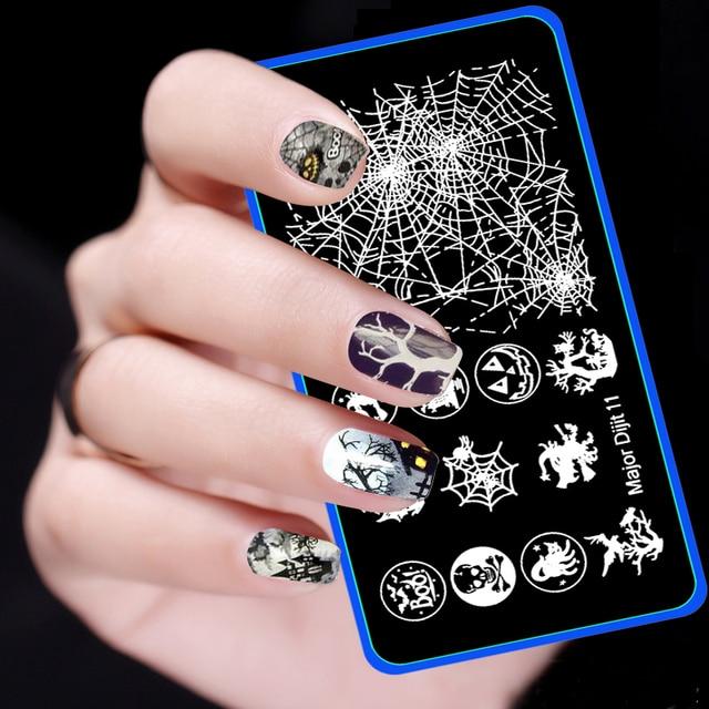 2016 New Christmas Nail Art Stamp Skeleton Witch Pumpkin Spider