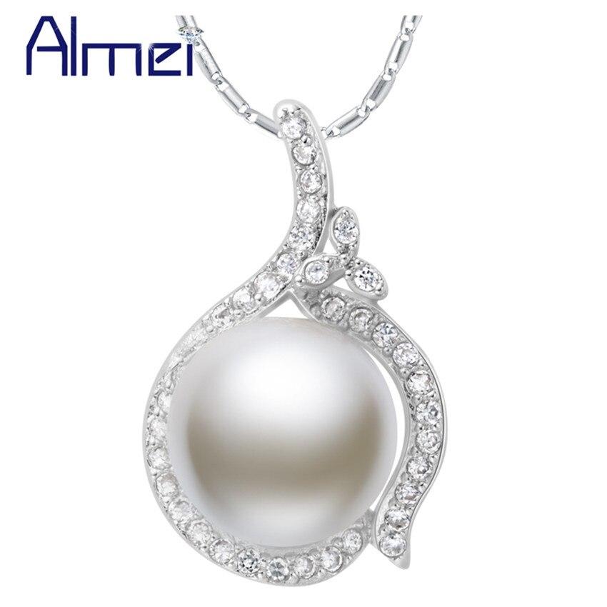 ①Almei vintage gran simulado perla declaración plata color choker ...