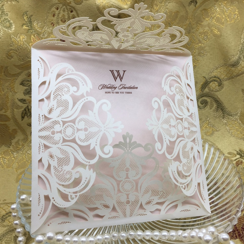 200pcs 150*150mm Laser Cut Hollow Lace Flower Invitations Card Wedding Invitation Cards with Envelope & Seal
