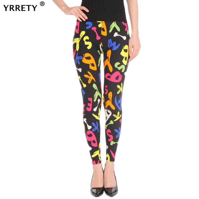 YRRETY Autumn Spring Elastic Star Graffiti Alphabet Stripe Skinny Leggings Women Fitness Leggings For Sporting Workout Leggins