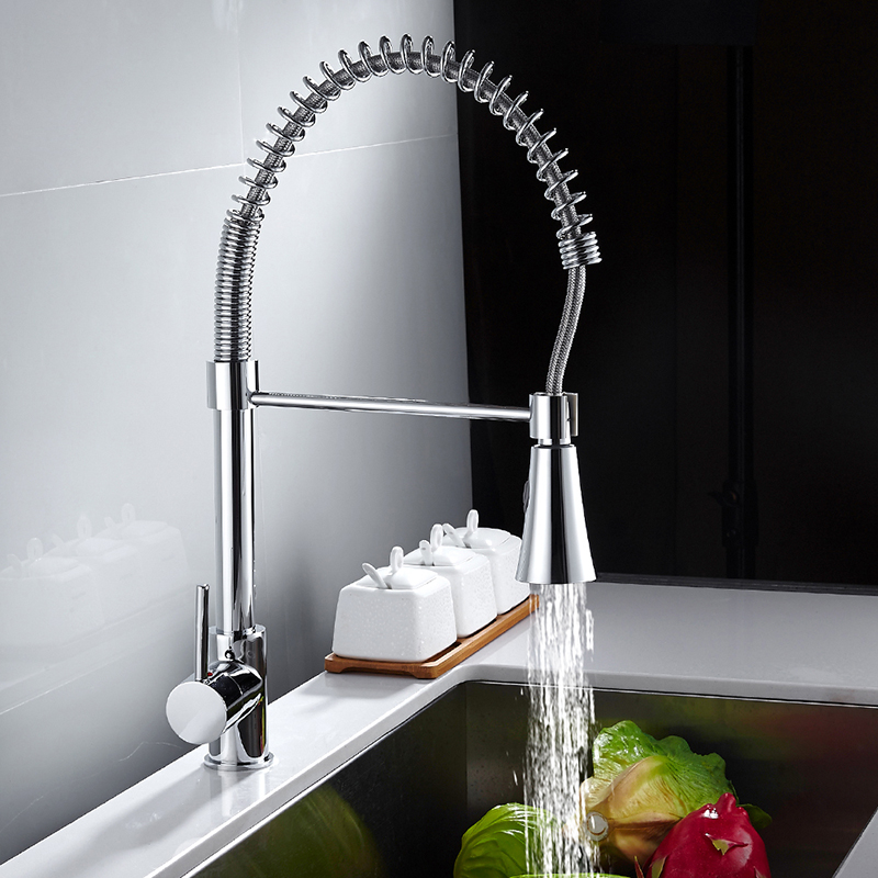 Chrome Kitchen Faucet Pull Out with One Spouts Handheld Shower Water Tap Kitchen Mixer Tap Deck Mounted china sanitary ware chrome wall mount thermostatic water tap water saver thermostatic shower faucet