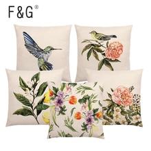 Watercolor Plant Animal Cushion Cover Lovely Bird Flower Rose Raspberry Lemon Dill Clove Home Decoration Sofa Pillowcase