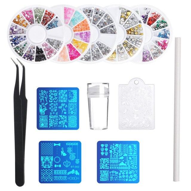 Biutee Nail Art Template Kit With Nail Plates, Rhinestones, Stamper ...
