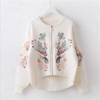 Womenn Spring Autumn Sweater Cardigans Embroidery Zipper Sweater Poncho black White Flower Coat Short Poncho Feminino QH0191