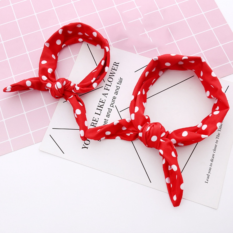 2pcs/Set Fashion Cute Flower Printed Mother Baby Rabbit Ear Hair Bands Headband Mom Daughter Baby   Headwear   Hair Accessories