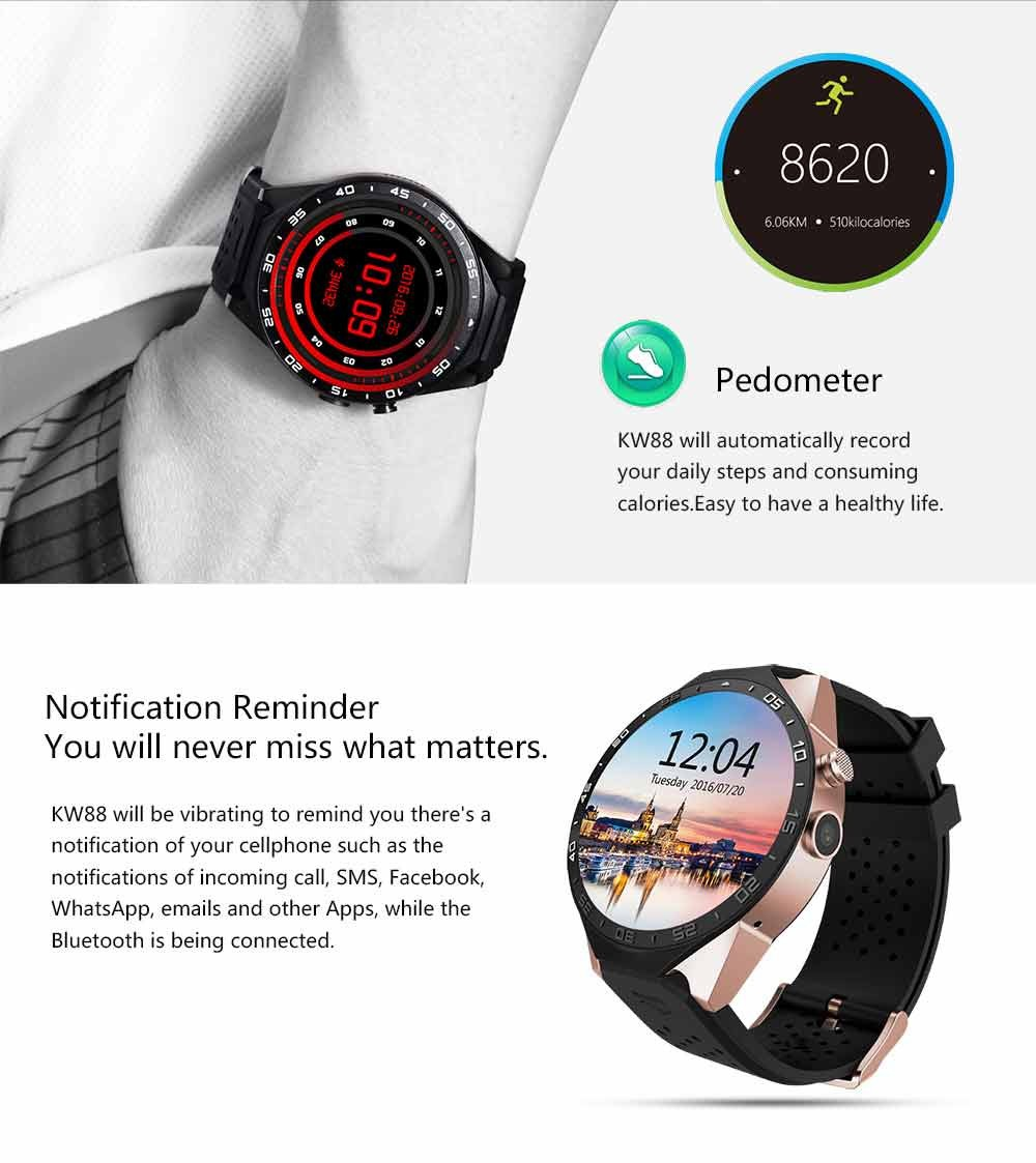 Smartch KW88 smart watch Android 5.1 OS 1.39 inch Amoled Screen 3G wifi Smartwatch Phone MTK6580 GPS Gravity Sensor Pedometer