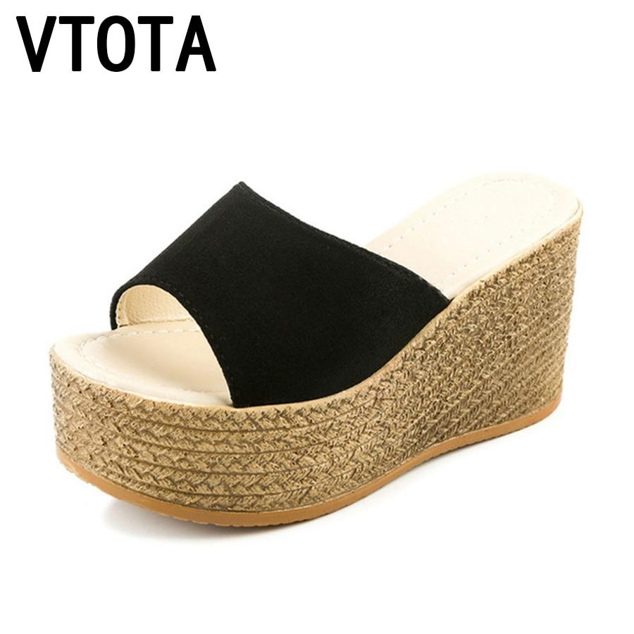 Wedge Sandals Fashion Women Shoes Peep Toe Slides Summer Weaving Beach Platform
