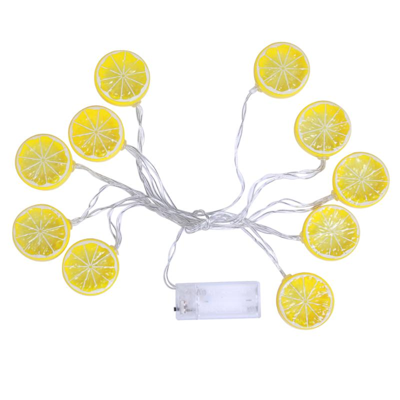 Creative Party Decor 2.5M Lemon Shape 10 LED Battery Flashing String Lights Outdoor Balcony Room Festival Xmas Decor Lights