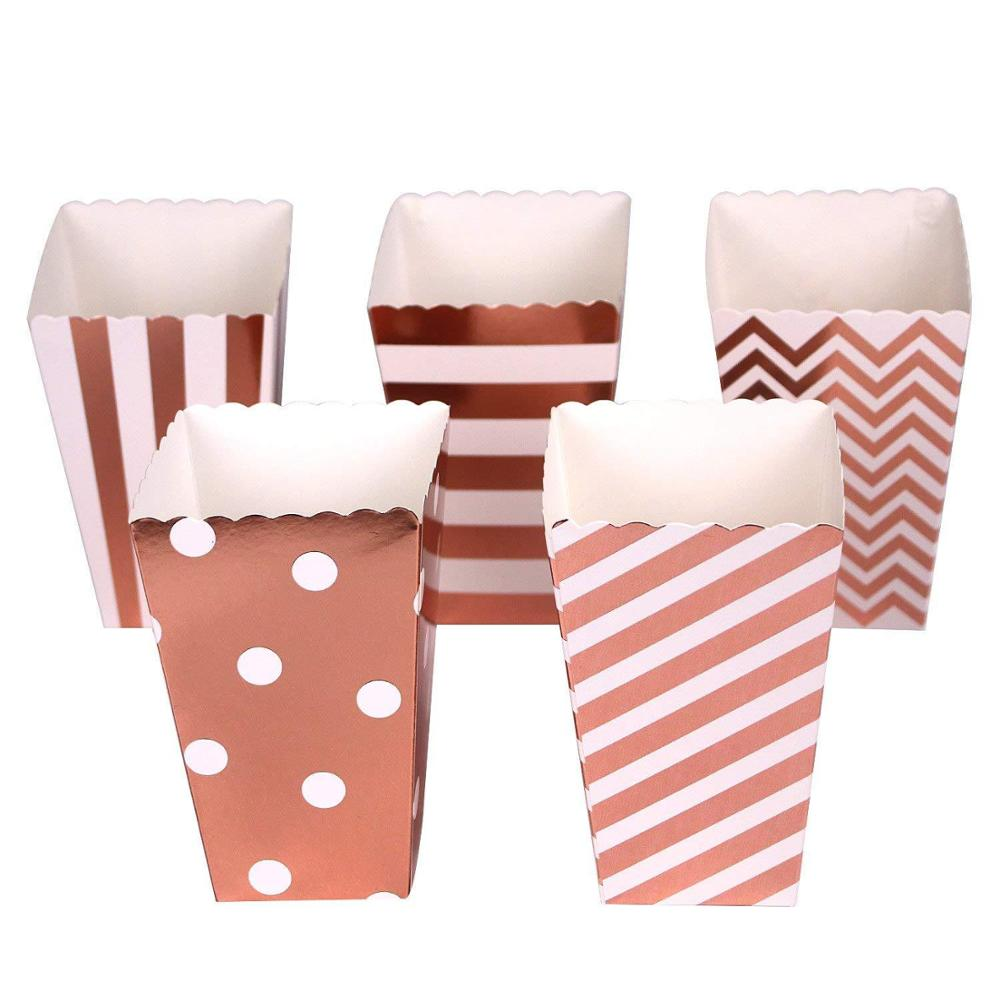 12pcs Rose Gold Stripe Wave Dot Paper Popcorn Boxes Party Decoration Candy Box Baby Shower Wedding Boxes Party Supplies