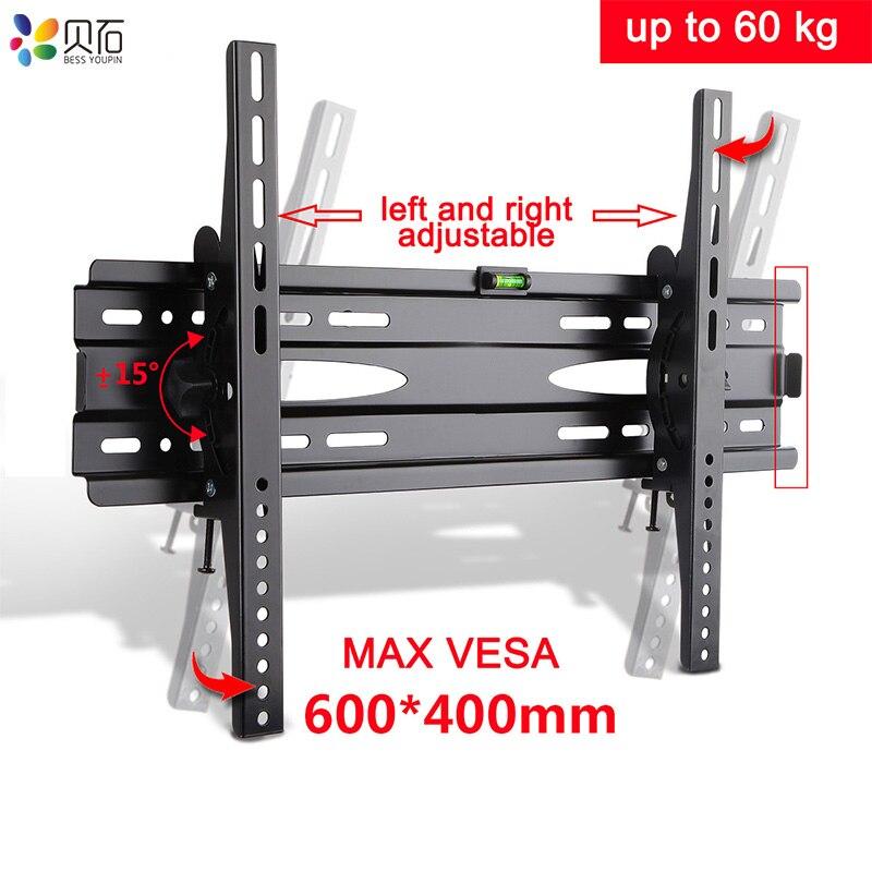 Suportes de Parede TV Suporte de Inclinação Ajustável Ultra Slim para 32-65 Polegada LED LCD TVs até VESA 600 x 400mm e 132lbs Capacidade de Carregamento