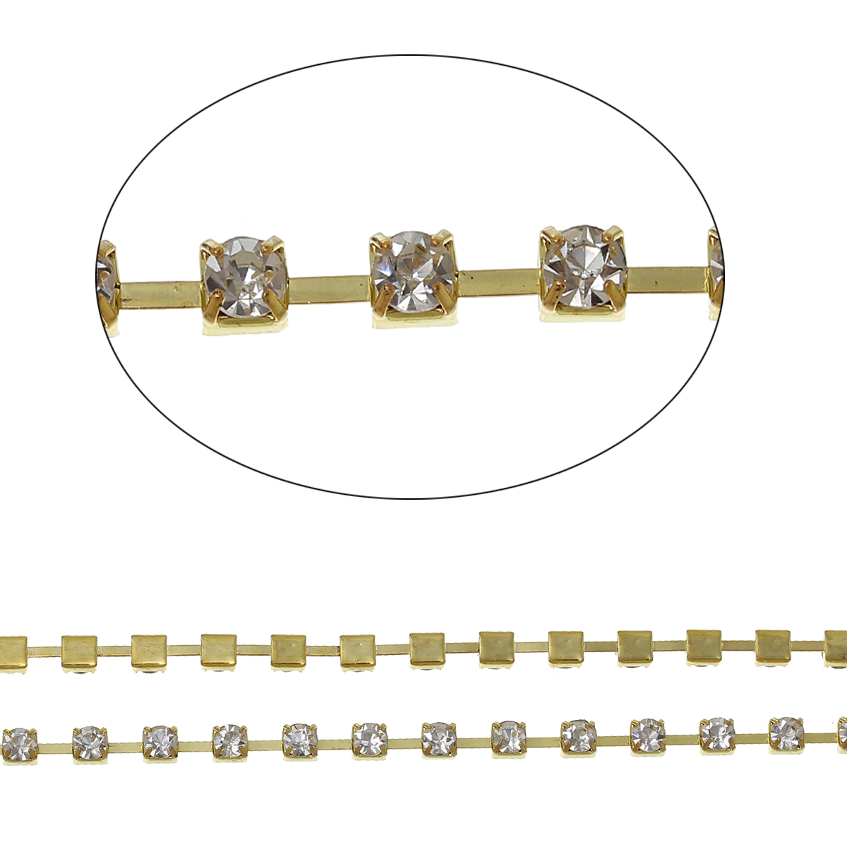 "DoreenBeads Copper Link <font><b>Cup</b></font> Chain Chains <font><b>Gold</b></font> Plated Clear Rhinestone 4mm(1/8"")x 4mm(1/8""),1 <font><b>M</b></font>"