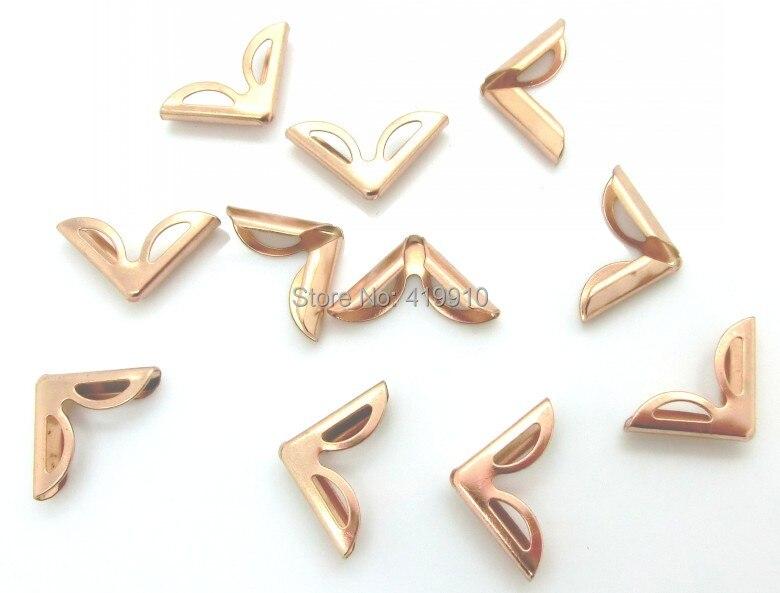 Shipping-100pcs, розовое золото, Металлические Угловые Альбомы, меню, папки, угловые протекторы(толщина 5 мм) 23x16 мм J1727