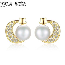 FYLA MODE 925 Pure Sterling Silver Moon Zircon Freshwater Pearl Stud Earring Sweet Lovely Earrings Elegant Female Anti-allergic