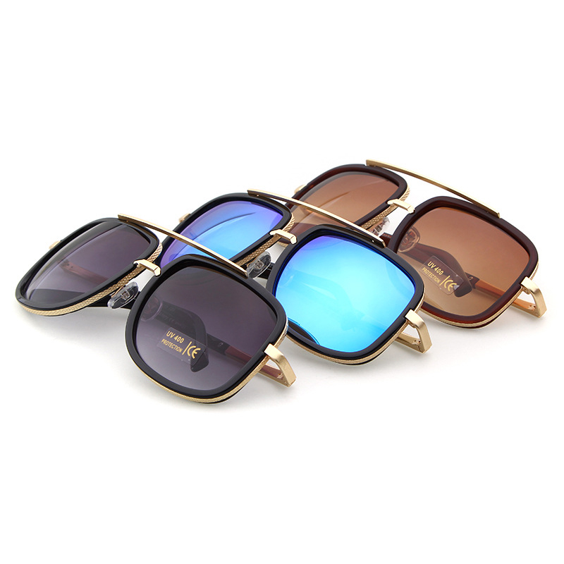 Coodaysuft Oversized Men Sunglasses Women Classic Brand Designer Flat Top Mirror Sun Glasses Square Gold Male Female Superstar