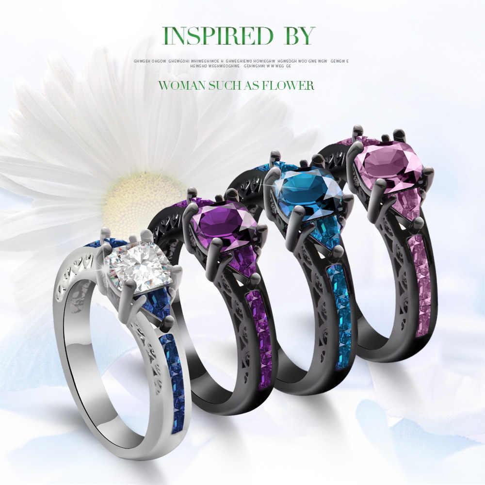 1 PC ใหม่แฟชั่นผู้หญิงแหวนคริสตัลสีม่วง Black Gold Filled Zircon คริสตัลแหวนขนาด 6-10