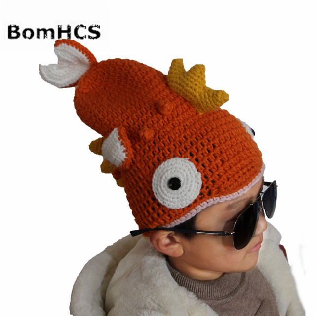 "BomHCS ""The Goldfish Is on Your Head"" Funny Winter Crochet Beanie Animal Fish Cool Handmade Hat for Kids Age 3-10"