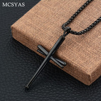 MCSAYS Hip Hop Jewelry Cross Pendant Stainless Steel Baseball Bat Tool Necklace Punk Necklace Mens Fashion