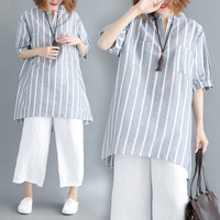 Plus Size Short Sleeve Stripe Blouse Loose Cotton And Linen Shirt Women Artistic Mori Girl Brief Womens Clothing