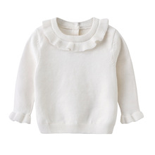 Autumn Style Baby Girl Knitting Sweater Lotus Round Collar Knitting Kids Outfit Coat Cotton Soft Comfortable Pullover Cardigan недорого